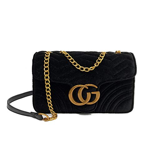 Handbags Shoulder Purses Chain for Purses Crossbody Bags Women Black Bags Velvet and Quilted ZaqxIwX