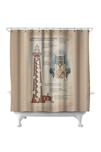 North Carolina Printed Curtain - Outer Banks, North Carolina - Currituck Beach Lighthouse Technical (71x74 Polyester Shower Curtain)