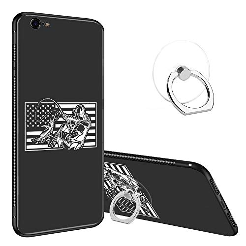 iPhone 6 Plus Case,iPhone 6s Plus Cases Tempered Glass Pattern Painted American Ocean Fishing Cover for iPhone 6/6s Plus