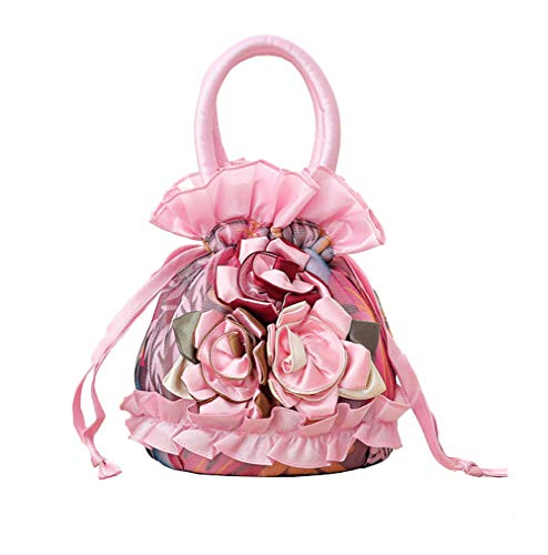 - Women Roses Handbag Small Drawstring Bucket Bags For Women Flowers Bright Ruffles Printed Lace/Gauze Fully Lining Pink