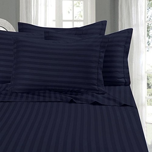 - Lavish Linens Attached Waterbed Sheet Set with Pole Insert Egyptian Cotton 600 Thread Count - Wrinkle, Fade, Stripe Navy Blue King Size