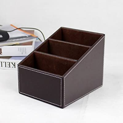 Aokin PU Leather Remote control/controller TV Guide/mail/CD organizer/caddy/holder with (Brown)