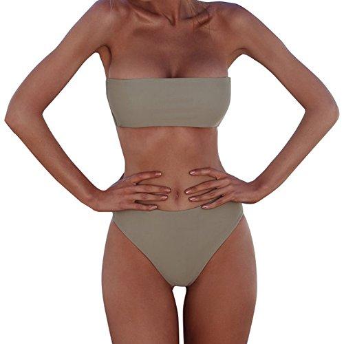 XUNYU Women Bikini Set Bandeau Strapless Swimsuits Two Pieces Solid Bathing Suit Beach Wear (Bandeau Tropical)