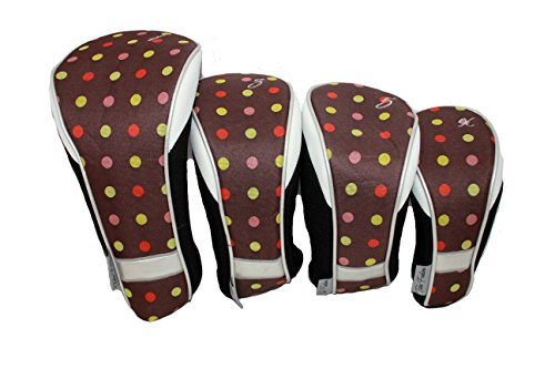 Colours Cocoa - Taboo Fashions 4-Pack Designer Golf Club Cover Head Cover Set (14 Colors Available) (Cocoa Eye Candy)