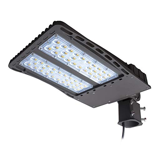 AntLux LED Parking Lot Lights 200W - LED Shoebox Pole Lights - 26000lm, 5000K, IP66-600W MH/HPS Replacement - Outdoor Area Street Security Lighting Fixture - Slipfitter Mount - Photocell Included