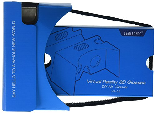 SainSonic 34mm Lenses and 50mm Focal Distance Virtual Reality 3D Glasses - Blue