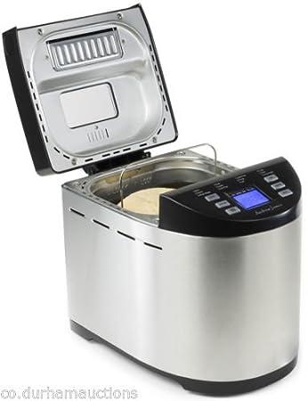 Andrew James - Automático Premium - Panificadora (en acero inoxidable - Con 12 preprogramaciones funciones, automática ingrediente compartimento y tiempo ...
