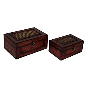 Cheung's FP-3548-2 Flat Top Wooden Keepsake Box with Woven Inlay And Latch Hook| Set of 2