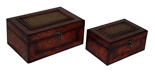 Rattan Chest Treasure (Cheung's FP-3548-2 Flat Top Wooden Keepsake Box with Woven Inlay And Latch Hook| Set of 2)