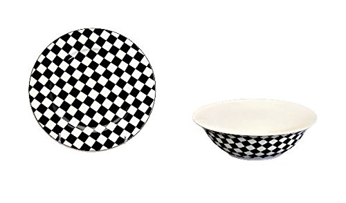 12 piece China Dinnerware Set for 6 Checkered Flag Pattern