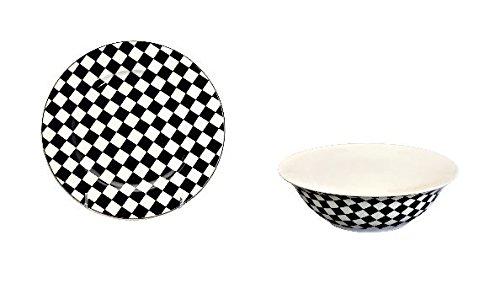 12 piece China Dinnerware Set for 6 Checkered Flag -