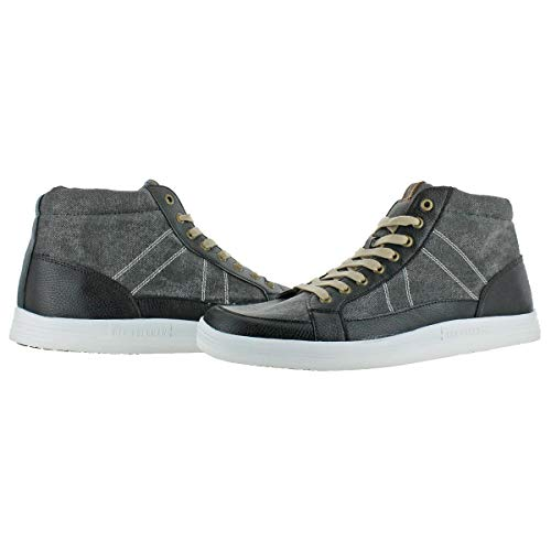 Ben Sherman Mens Knox Canvas Mid Top Fashion Sneakers Black 14 Medium (D) by Ben Sherman (Image #1)