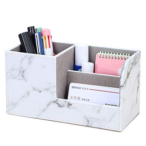 KINGFOM PU Leather Desk Organizer Pen Pencil Holder Business Name Cards Remote Control Holder