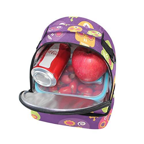 con el Bolsa de ajustable de para correa hombro para diseño almuerzo azúcar FOLPPLY calaveras térmica 1qHSwzz