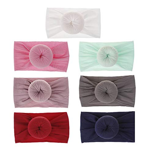 inSowni Boutique Solid Knot Round Dot Nylon Turban Headbands Stretchy Headwraps Hair Bands for Newborns Infants Baby Girls Toddlers Kids