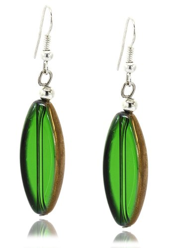 MGD, Green Indian Glass Oval Shape Drop / Dangle Earrings with Silver Fish Hook, Fashion Jewelry for Women, Teens and Girls, JB-0187E (Oval Indian Glass)