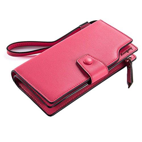 Women's Large Capacity PU Leather Clutch Wallet Card Holder Money Organizer Ladies' Purse with Wristlet Strap (Plum) ()