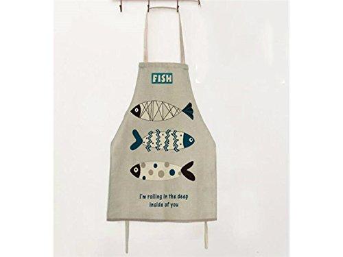 Gelaiken Perfect Cotton Linen Cartoon Fish Printed Letter Apron Hanging Neck Animal Sleeveless Unisex Apron