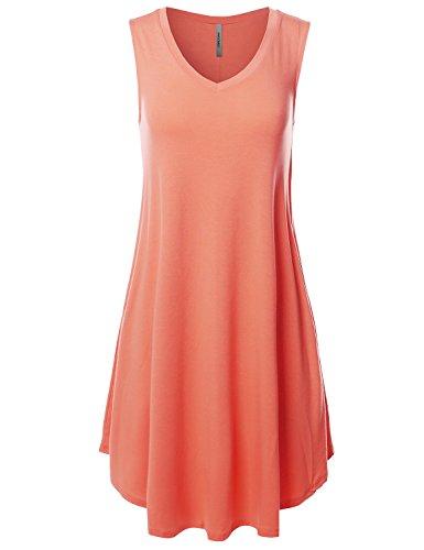 Awesome21 Solid V-Neck Sleeveless Round Hem Dress with Side Pocket Deep Coral (Jersey Deep V-neck Dress)