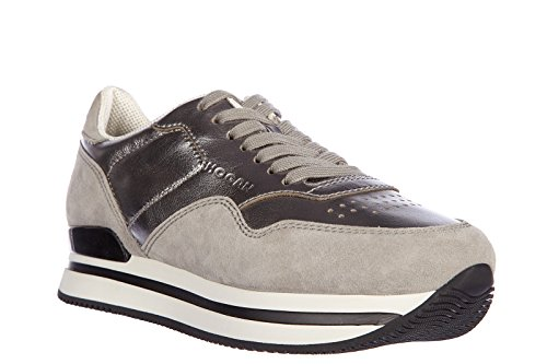 Hogan scarpe sneakers donna camoscio nuove h222 argento