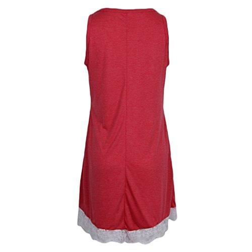 DOLITY Cóctel Abierta Casual Flojo Midi Rojo Vestido Playa Encaje D Vintage Pleno 50s Encaje V THgxwRqdnq
