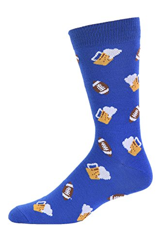 Urban-Peacock Men's Novelty Fun Dress Socks - Multiple Patterns to Select From! (Beer & Football - Blue, 1 Pair)
