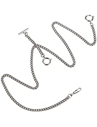 Pocket Watch Double Albert Chain T-Bar Watch Chain Link 16 inch 3 Hook Sliver Classic Antique