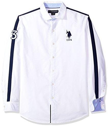 (U.S. Polo Assn. Men's Long Sleeve Classic Fit Solid Shirt, Optic White Ghmj, XL)