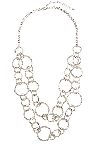 Plastic Chain Link Necklace - Karmas Canvas Double Row Link Chain Necklace (Silver)