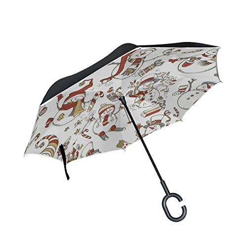 Reverse Umbrella Snowman Gift Windproof Double Layer Inverted Umbrella Anti-UV Protection with C-Shaped Handle for Car Outdoor Use