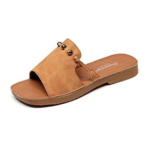 Eu37 couleur Shoes Bottom Femme Antidérapantes Extérieure Taille Pantoufles Sandales Été 5 5 Xy® Perlée cn37 Plate Et Soft uk4 Green Brown Beach vOna7fwx