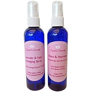 Crystal Serenity Sprays Duo: Includes Peace & Harmony Aromatherapy Spray and Lavender & Sage Smudging Spray