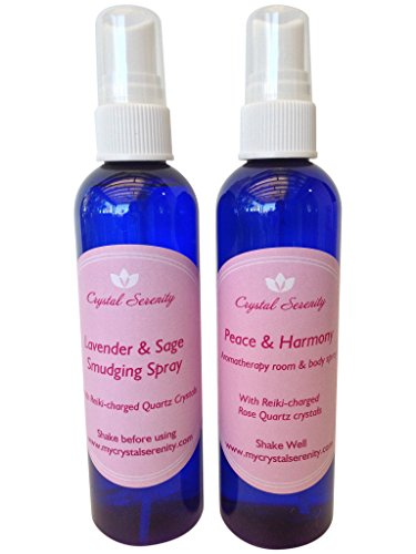 Crystal Serenity Sprays Duo: Includes Peace & Harmony Aromatherapy Spray and Lavender & Sage Smudging Spray by Crystal Serenity