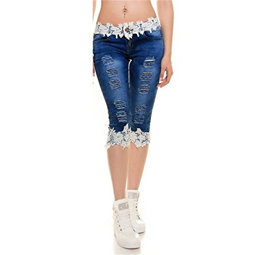 Plus size women fashion ripped denim jeans shorts lace splicing women pants