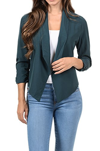 - Auliné Collection Womens Casual Lightweight 3/4 Sleeve Fitted Open Blazer Hunt Small