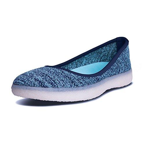 BluPrint La Jolla Womens Stylish Knitted Ballet Flat Every-Day Shoe with BluPrint CLOUD IMPRINT Comfort Technology - Size 6.5 - Ocean Blue vtGGIWBS1