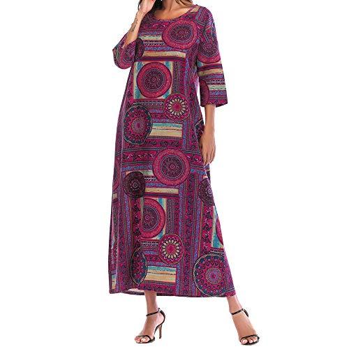 Long Dress Hot Sale! DEATU Women Print 3/4 Sleeve Cotton Linen Comfy Loose Bohe Long Dress with Pocket (Hot Pink,L)