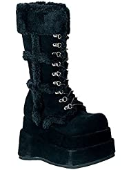 4 1/2 Inch Stacked Platform Calf Boots Costumes Black Veg Suede Shoes Faux Fur Size: 11