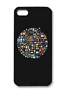 Numerous Stuffs Circle Pattern Hard Plastic Back Black Cover for Iphone 5C.(012)