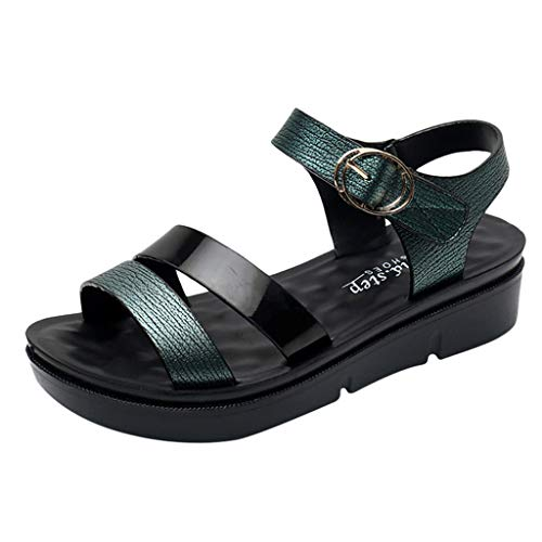 ZOMUSAR 2019 Shoes, Women Summer Fashion Leather Sandals Wedges Comfort Big Size Shoes for Ladies Green (Best Catchers Mitts 2019)