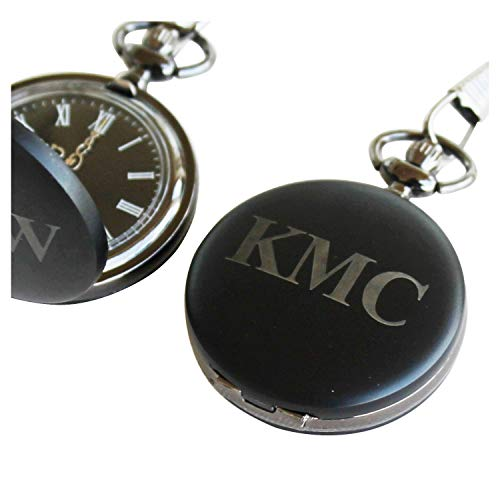 Black Quartz Pocket Watch - Personalized Engraved Black Quartz Pocket Watch with Chain - Groomsmen Wedding Party Gifts