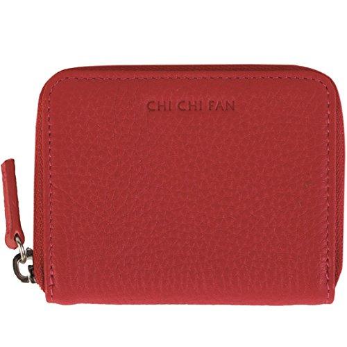 CHI CHI FAN Portemonnaie Medi - Graphit | Kleine Leder Geldbörse aus genarbtem Rindsleder | Top Qualität und stylish-klares Design treffen auf maximale Funktion und Sicherheit | 10x8x1,5cm Rot