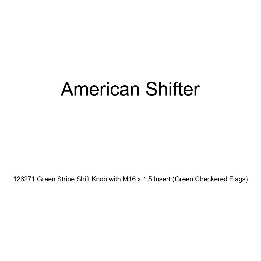 American Shifter 126271 Green Stripe Shift Knob with M16 x 1.5 Insert Green Checkered Flags
