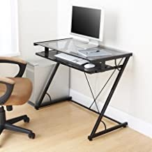 Space-saver Computer Desk (Black) with Tempered Smoke Glass Top and Z-shaped Metal Support - Features Pull-out Tray for Keyboard and Mouse (Task Chair Is Not Included) by Mainstays