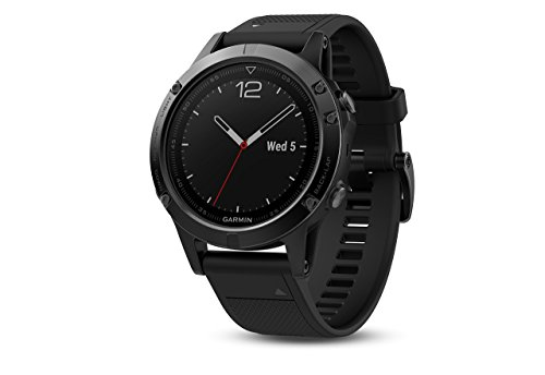 Garmin 010-01688-11 1.2'' Fenix 5 Sapphire - Black with Black Band (EMEA) by Garmin