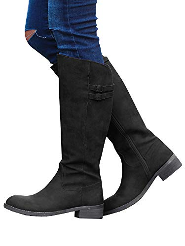 Ermonn Womens Wide Calf Riding Boots Knee High Buckle Strappy Winter Chunky Combat Boots 1-black