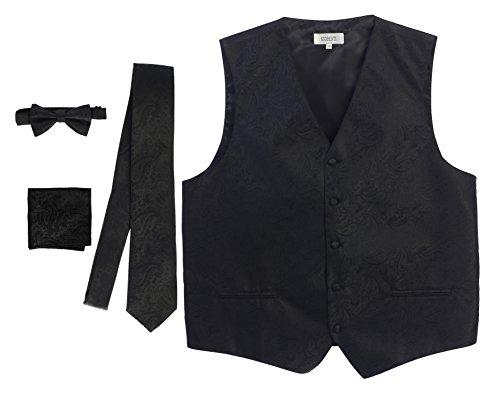 (Gioberti Men's Formal 4pc Paisley Vest Necktie Bowtie and Pocket Square, Black, Medium)