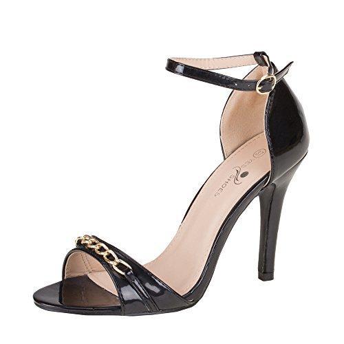 Damen Schuhe, SANDALETTEN, RIEMCHEN HIGH HEELS, GM-41, Synthetik in hochwertiger Lacklederoptik, Schwarz, Gr 40