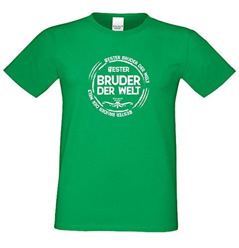 Bruder Geschenkeset Fun-T-shirt zu Weihnachten oder zum Geburtstag mit GRATIS Urkunde - Bester Bruder der Welt Farbe: hellgrün Gr: M
