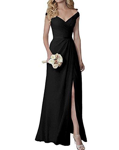 (Yilis Elegant V-Neck Chiffon Slit Long Bridesmaid Dress Wedding Evening Dress Black US14)